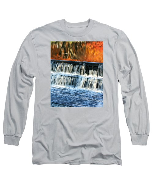 Waterfall In Downtown Waukesha Long Sleeve T-Shirt