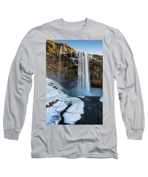 Long Sleeve T-Shirt featuring the photograph Waterfall Seljalandsfoss Iceland In Winter by Matthias Hauser