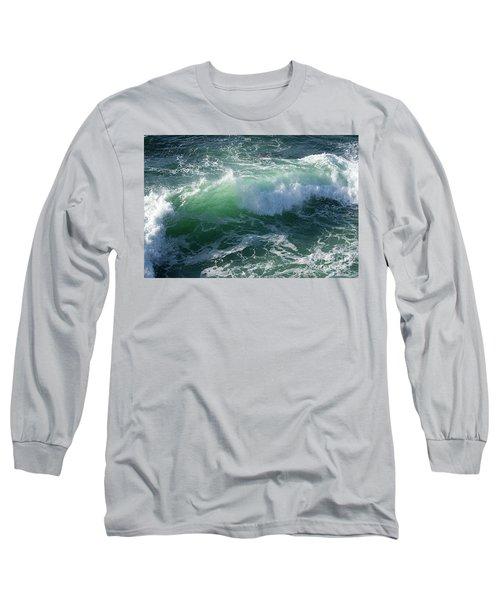 Wave At Montana De Oro Long Sleeve T-Shirt by Michael Rock