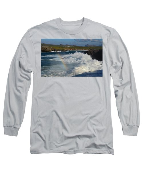 Waves And Rainbow At Clogher Long Sleeve T-Shirt by Barbara Walsh