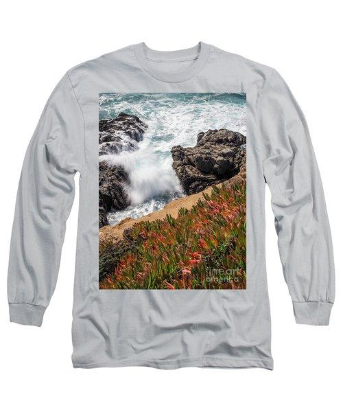 Waves And Rocks At Soberanes Point, California 30296 Long Sleeve T-Shirt