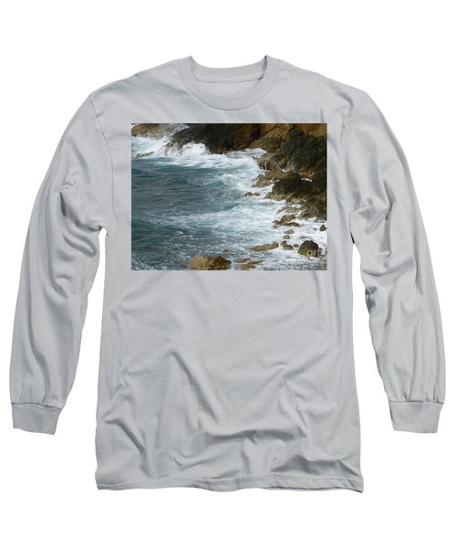 Waves Lashing Rocks Long Sleeve T-Shirt