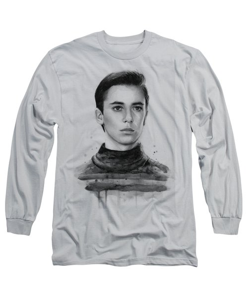 Wesley Crusher Star Trek Fan Art Long Sleeve T-Shirt by Olga Shvartsur