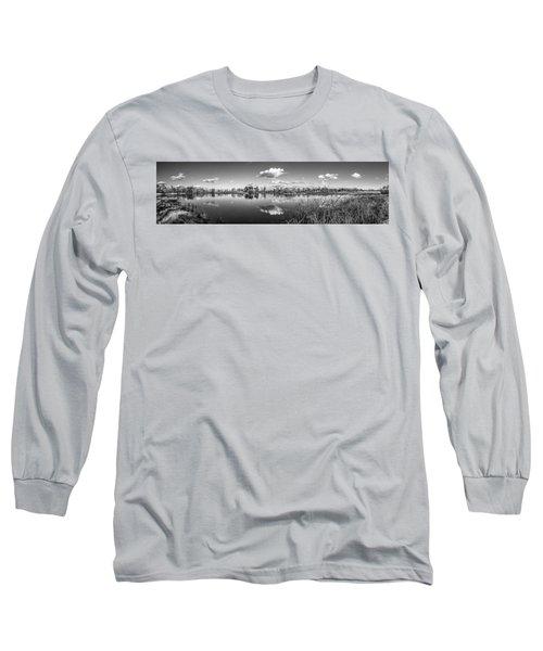 Wetlands Panorama Monochrome Long Sleeve T-Shirt