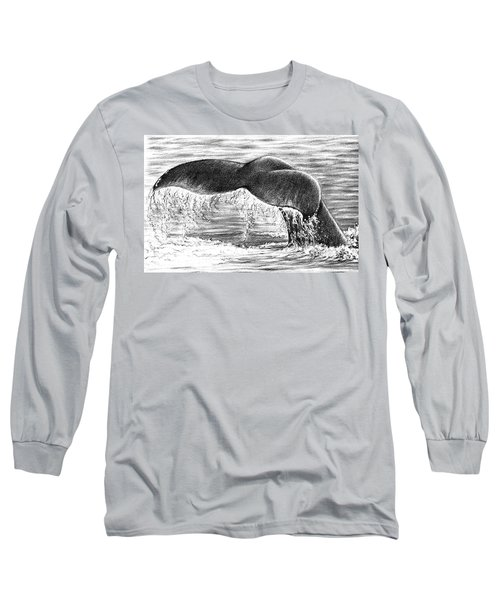 Long Sleeve T-Shirt featuring the drawing Whale Tail by Heidi Kriel
