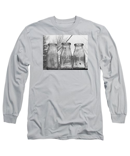 What The Milk Man Left, Bw Long Sleeve T-Shirt by Sandra Church