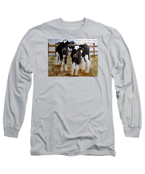 Long Sleeve T-Shirt featuring the painting Where's My Milk? by Carol Grimes