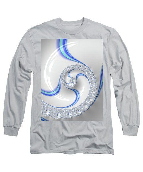Long Sleeve T-Shirt featuring the digital art White And Blue Spiral Elegant And Minimalist by Matthias Hauser