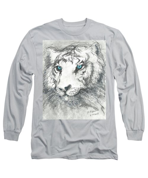 Long Sleeve T-Shirt featuring the drawing White Bengal Tiger by Denise Fulmer