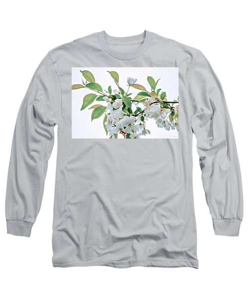 Long Sleeve T-Shirt featuring the photograph White Crabapple Blossoms by Skip Tribby