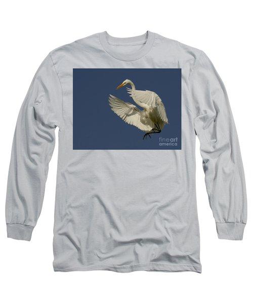 White Egret Flight Long Sleeve T-Shirt by Myrna Bradshaw
