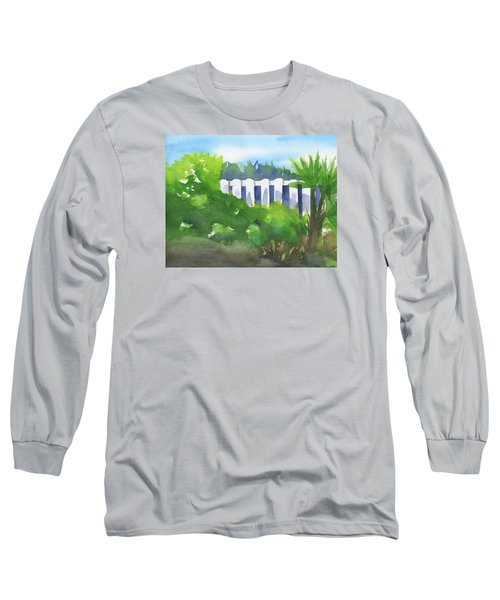 White Fence  Long Sleeve T-Shirt by Frank Bright