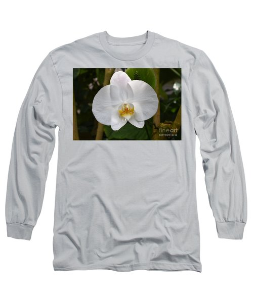 White Flower With Golden Accents Long Sleeve T-Shirt