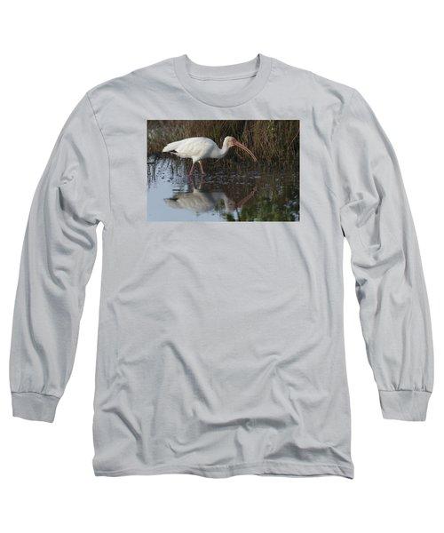White Ibis Feeding Long Sleeve T-Shirt