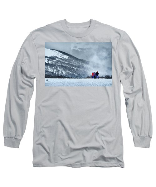 White Landscape In The Frozen Paradise In The Argentine Patagonia Long Sleeve T-Shirt