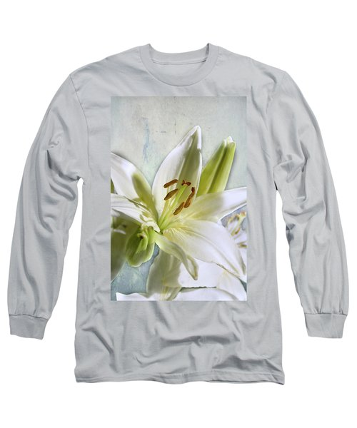 White Lilies On Blue Long Sleeve T-Shirt by Jacqi Elmslie