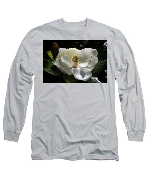 White Magnolia Flower Long Sleeve T-Shirt