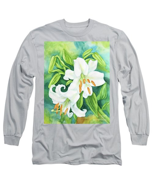 White Oriental Lilies Long Sleeve T-Shirt