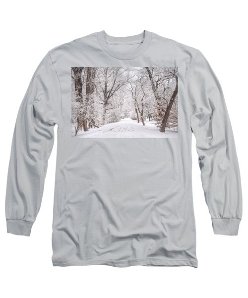 Long Sleeve T-Shirt featuring the photograph White Path To Winter Dream by Jenny Rainbow