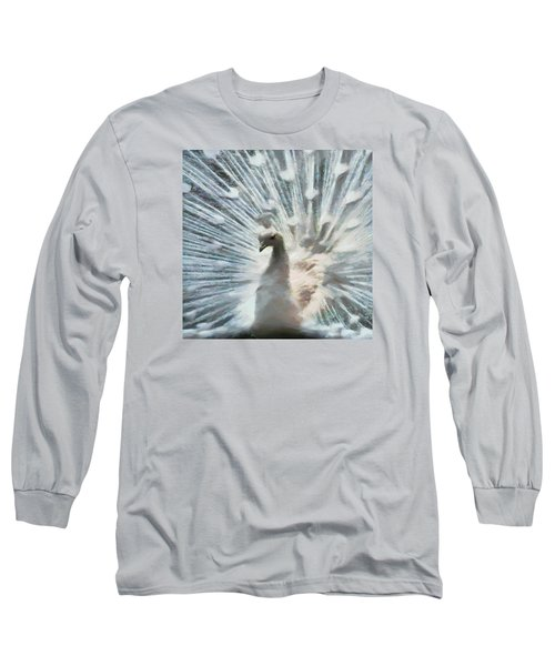 White Peacock Long Sleeve T-Shirt by Charmaine Zoe