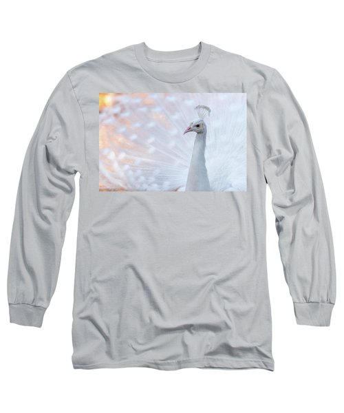 Long Sleeve T-Shirt featuring the photograph White Peacock by Sebastian Musial