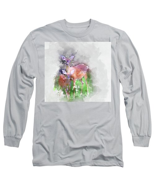 White Tail Deer In Watercolor Long Sleeve T-Shirt