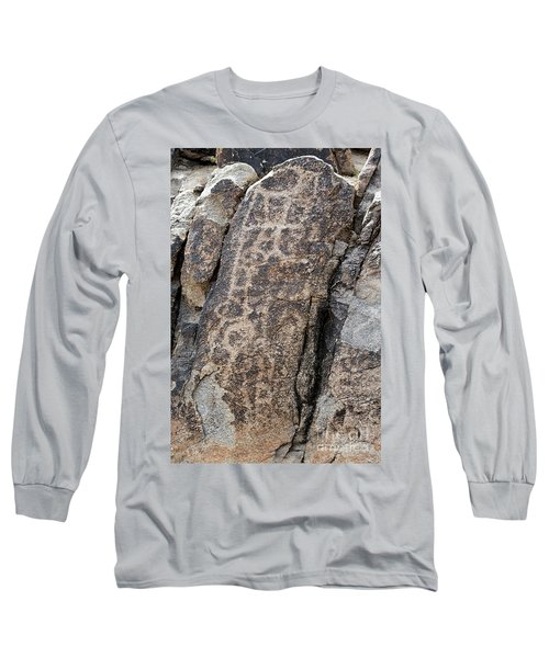White Tank Petroglyphs #1 Long Sleeve T-Shirt by Anne Rodkin