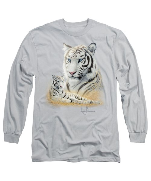 White Tiger Long Sleeve T-Shirt by Lucie Bilodeau
