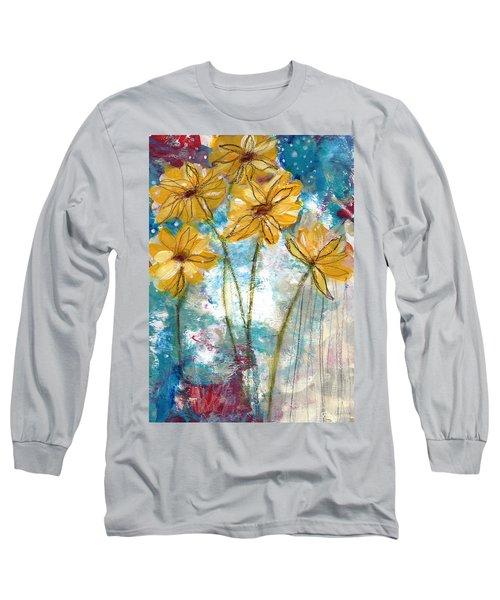 Wild Sunflowers- Art By Linda Woods Long Sleeve T-Shirt