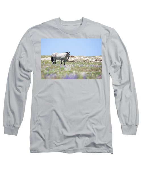 Wildflowers And Mustang Long Sleeve T-Shirt