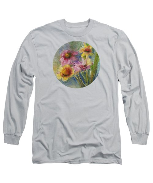 Long Sleeve T-Shirt featuring the painting Wildflowers by Mary Wolf