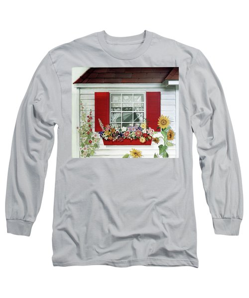 Windowbox With Cat Long Sleeve T-Shirt by Bonnie Siracusa