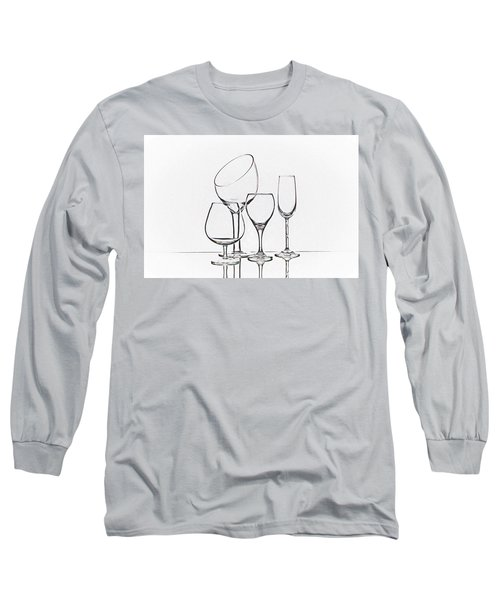 Wineglass Graphic Long Sleeve T-Shirt