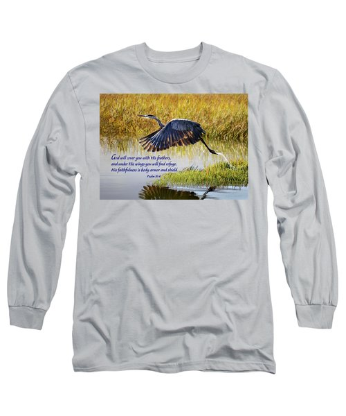 Wings Of Refuge With Scripture Long Sleeve T-Shirt