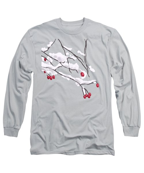 Winter Berries And Branches Covered In Snow Long Sleeve T-Shirt