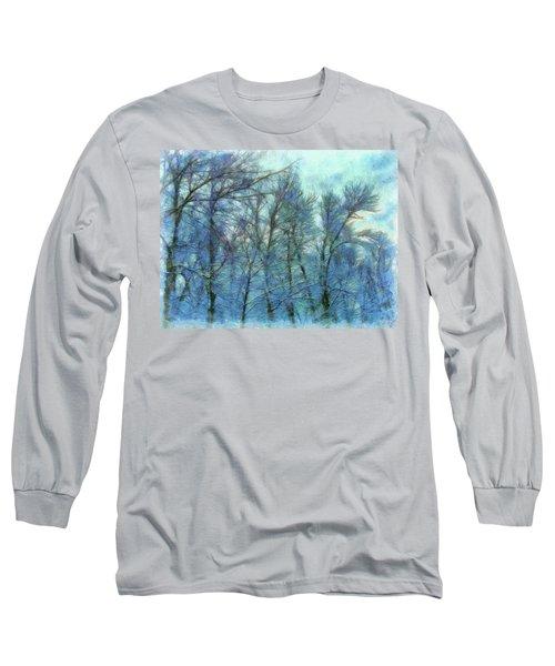 Winter Blue Forest Long Sleeve T-Shirt