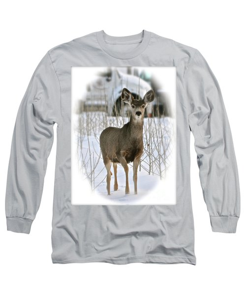 Winter Deer On The Tree Farm Long Sleeve T-Shirt