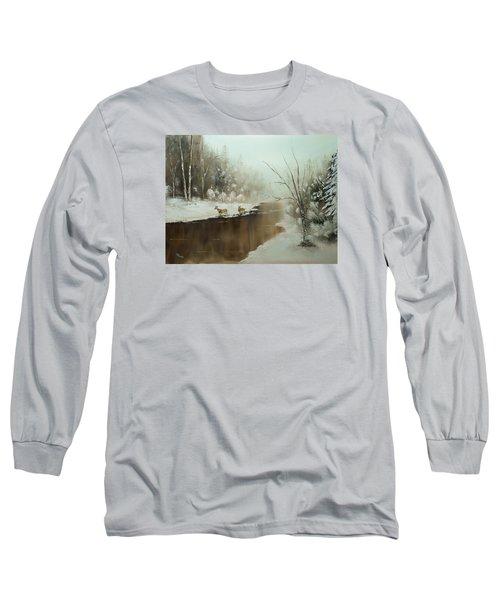 Winter Deer Run Long Sleeve T-Shirt