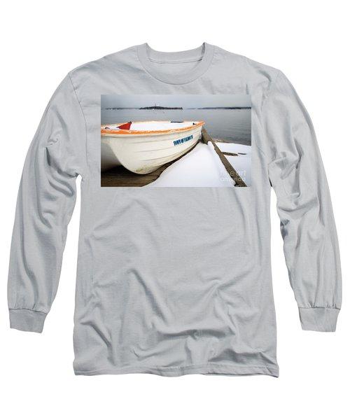 Winter, Falmouth, Maine  -18674 Long Sleeve T-Shirt by John Bald