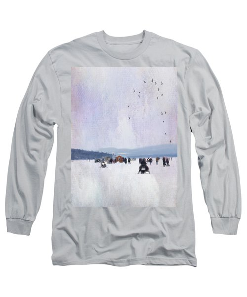 Winter Fun On The Lake Long Sleeve T-Shirt by Betty Pauwels