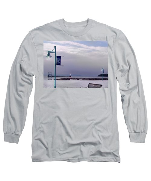 Winter Lights To Rock Point - Derivative Of Evening Sentries At The Coast Guard Station Long Sleeve T-Shirt