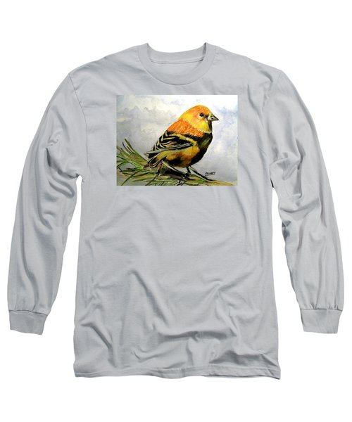 Long Sleeve T-Shirt featuring the painting Winter Plumage On Golden Finche by Carol Grimes