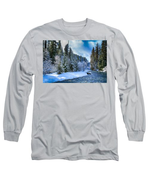 Winter Scene On The River Long Sleeve T-Shirt by Lynn Hopwood