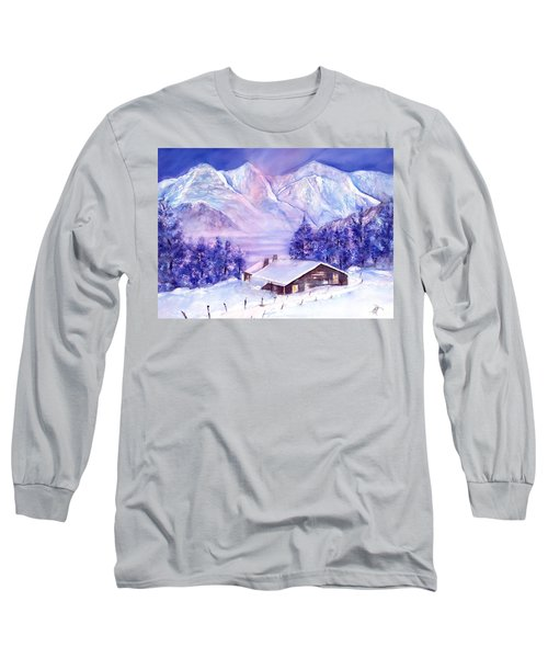 Swiss Mountains - Winter Scene With Eiger Moench Jungfrau Long Sleeve T-Shirt