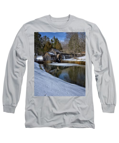 Winter Snow At Mabry Mill Long Sleeve T-Shirt by Steve Hurt