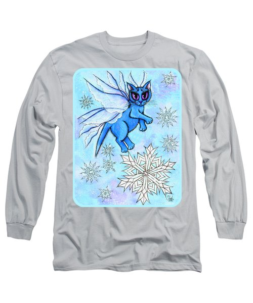 Long Sleeve T-Shirt featuring the painting Winter Snowflake Fairy Cat by Carrie Hawks