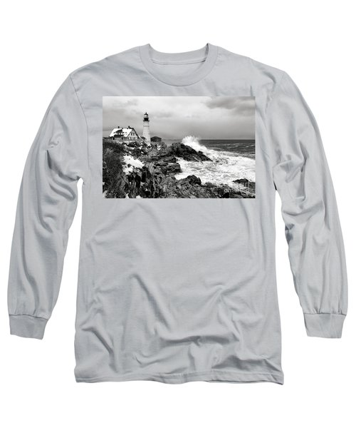 Winter Storm At Portland Head Long Sleeve T-Shirt