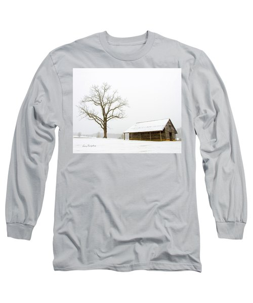 Winter Storm On The Farm Long Sleeve T-Shirt by George Randy Bass