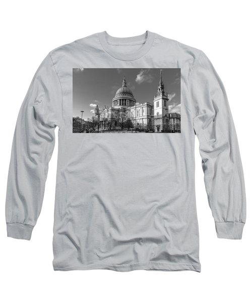 Winter Sun St Paul's Cathedral Bw Long Sleeve T-Shirt