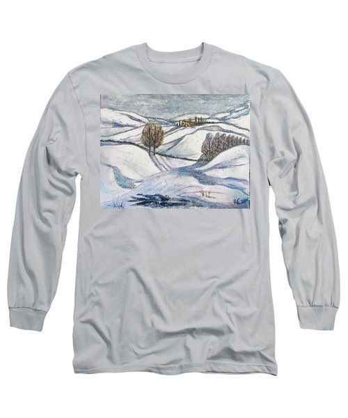 Long Sleeve T-Shirt featuring the painting Winter Tranquility by Rae Chichilnitsky